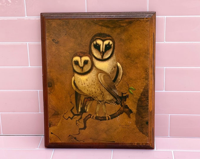 Barn Owl Print on Wood found by Willabird Designs Vintage Finds