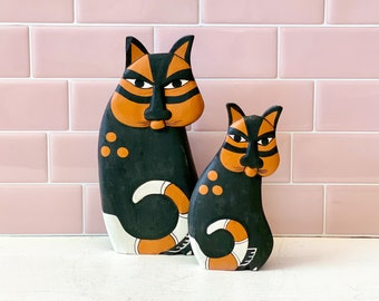 1980s Laurel Burch Hand Painted Wooden Cats found by Willabird Designs Vintage Finds