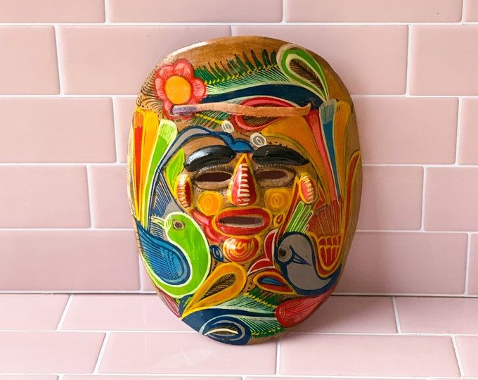 Mexican Folk Art Wall Mask & Décor found by Willabird Designs Vintage Finds