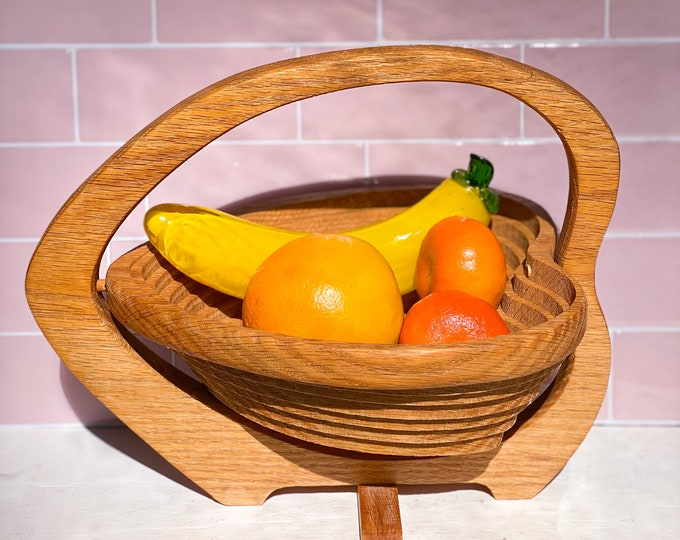 Collapsible Fruit Bowls found by Willabird Designs Vintage Finds. Wooden heart shaped hand carved fruit baskets