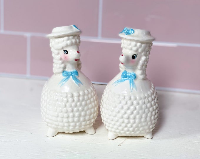 Poodles Salt and Pepper Shakers found by Willabird Designs Vintage Finds, 1950s Enesco Japanese kitsch