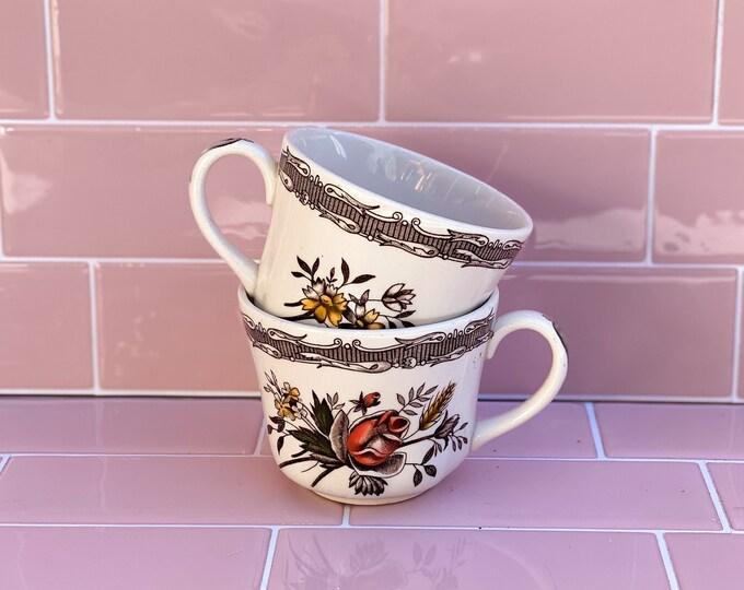 Woods England Victorian Floral Vintage Tea Cups found by Willabird Designs Vintage Finds