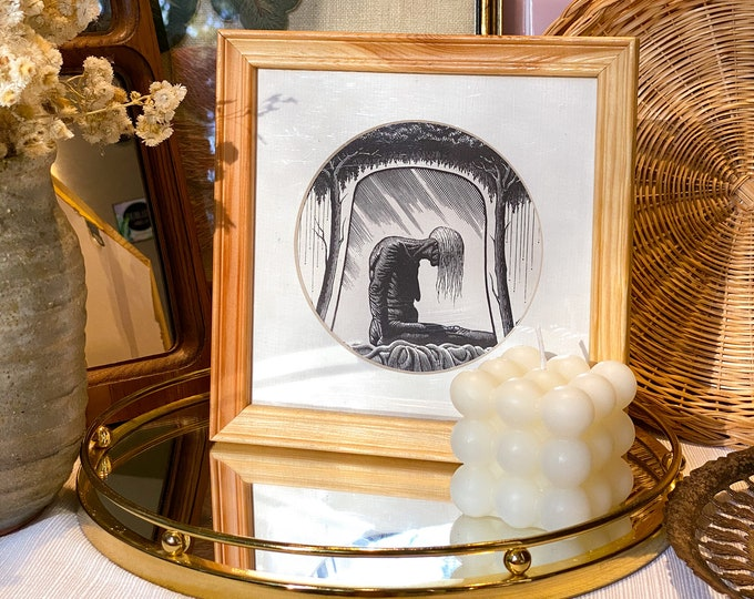 Square Wooden Frames with Woman & Lion Prints found by Willabird Designs Vintage Finds