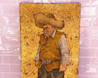 Vintage Gold Miner Original Oil Painting found by Willabird Designs Vintage Finds