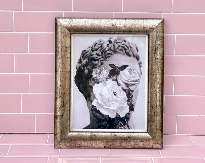 Statue of David with Flowers Printed Canvas in Silver Wooden Frame found by Willabird Designs Vintage Finds
