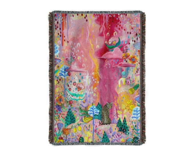 Woven Cotton Throw Hygge Blanket by Willabird Designs Artist Amber Petersen