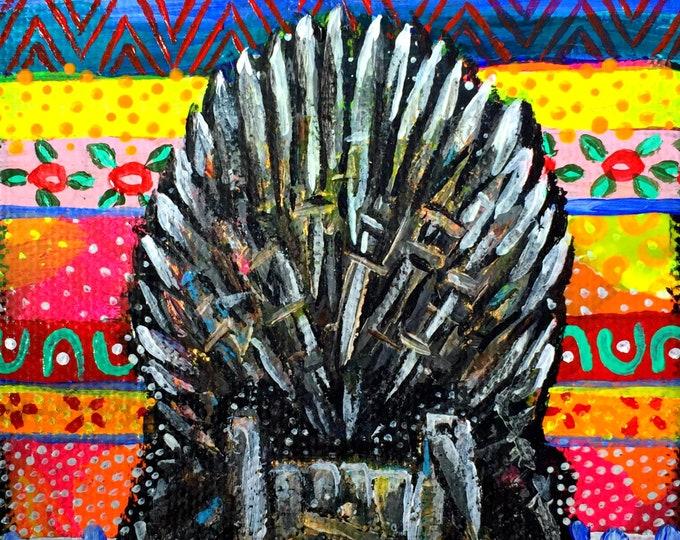 Game of Thrones Paintings by Willabird Designs Artist Amber Petersen. GoT Hold the Door Hodor, Jaime and Cersei & Iron Throne