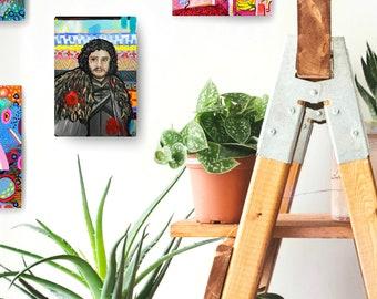 Jon Snow Game of Thrones Painting by Artist Amber Petersen. Kit Harington in GoT willabird art, Winter is Coming