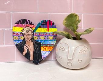 David Bowie Tribute Painting by Artist Amber Petersen. Original willabird art on wood