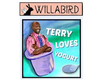 Brooklyn Nine Nine Terry Loves Yogurt Magnet by Willabird Designs Artist Amber Petersen