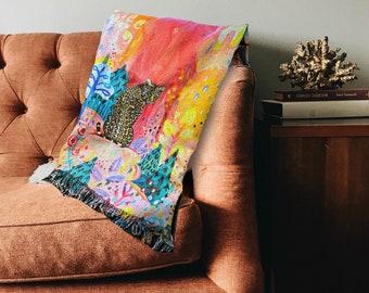 Woven Cotton Throw Blanket by Artist Amber Petersen. Willabird Hygge Décor art throw