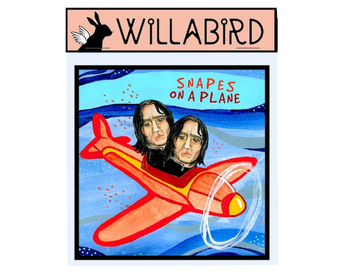 Snapes on a Plane Magnet by Willabird Designs Artist Amber Petersen. Alan Rickman as Harry Potter's Severus Snape, Snakes on a Plane pun