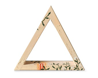 Gratitude Shelf Hygge Décor by Artist Amber Petersen. Clay and wood willabird triangle shelf