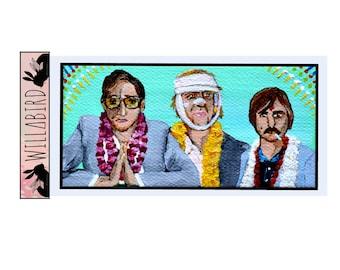 Darjeeling Limited Magnet by Willabird Designs Artist Amber Petersen. Wes Anderson, Adrien Brody, Owen Wilson, Jason Schwartzman