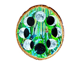 Moon Phase painting on wood by Artist Amber Petersen. Willabird Designs boho décor wall hanging
