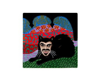 What We Do in the Shadows Painting by Willabird Designs Artist Amber Petersen. Jemaine Clement as Vampire Cat Vladislav