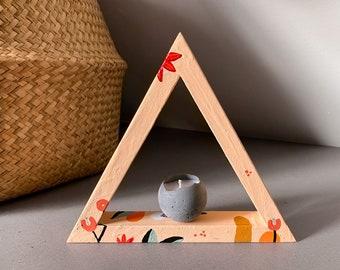 Gratitude Shelf Hygge Décor by Artist Amber Petersen. Colorful Willabird triangle shelf