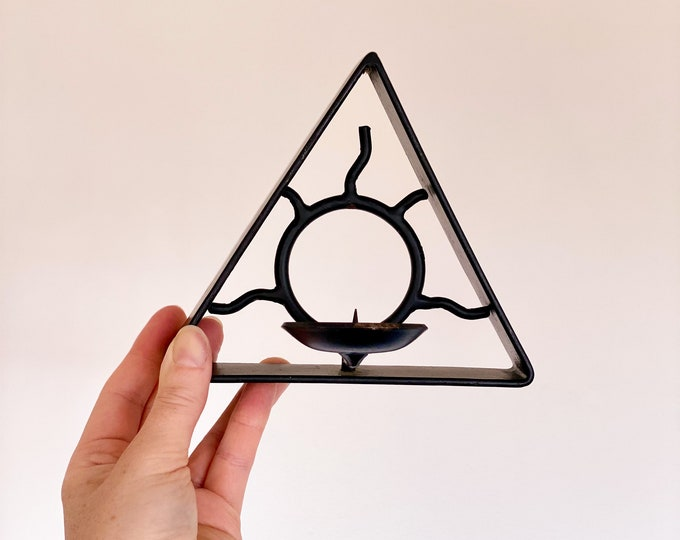 Triangle Sun Candle Sconce found by Willabird Designs Vintage Finds