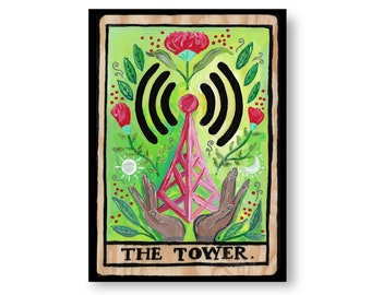 Tarot Cards Painting by Artist Amber Petersen. Eclectic Willabird Designs kitsch décor, the Tower
