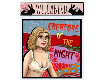 Rocky Horror Picture Show Creature of the Night Janet Magnet by Artist Amber Petersen. willabird art of Susan Sarandon as Janet Weiss