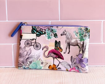 horses zipper pouch red change purse gift for horse lover pink coin purse with horses pink red card holder small red wallet with horses