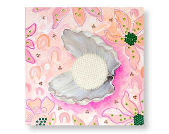Pearl in Clam Mixed Media Painting by Artist Amber Petersen. Willabird Designs