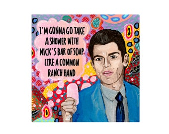 Schmidt Painting by Willabird Designs Artist Amber Petersen. Max Greenfield on New Girl, like a common ranch hand