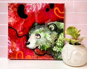 Bear Painting by Artist Amber Petersen. Eclectic Willabird Designs Pacific Northwest artist wall decor