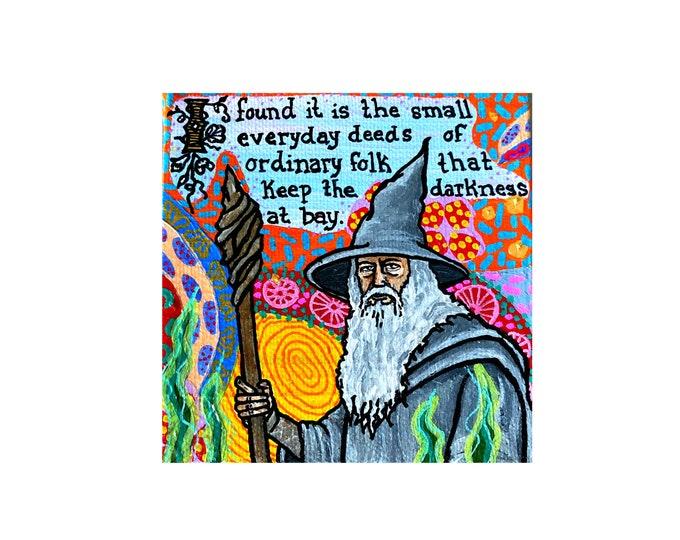 Gandalf Painting by Willabird Designs Artist Amber Petersen. Ian McKellen in Tolkien's Lord of the Rings & The Hobbit