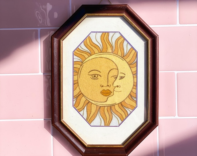 Celestial Octagon Framed Fabric Décor found by Willabird Designs Vintage Finds