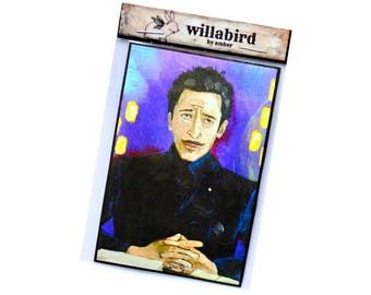 Grand Budapest Hotel, Adrien Brody Magnet by Artist Amber Petersen. Original in Acrylic on Panel Board. Wes Anderson Film, Dmitri