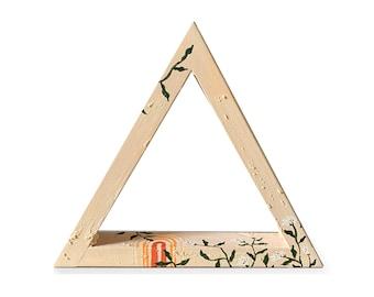 Gratitude Shelf Hygge Décor by Willabird Designs Artist Amber Petersen. Clay and wood triangle shelf