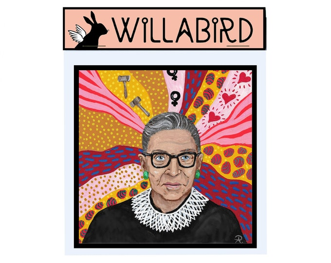 Ruth Bader Ginsburg Magnet by Willabird Designs Artist Amber Petersen