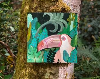 Jungalow Pink Toucan Painting by Willabird Designs Artist Amber Petersen