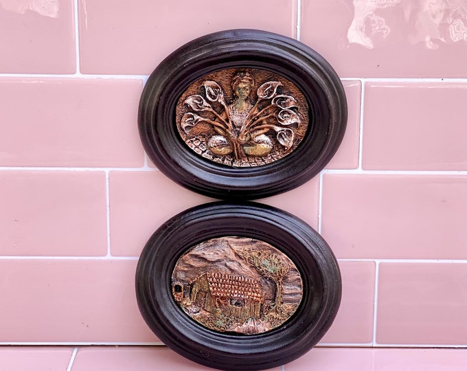 Little Oval Sculptural Plaques found by Willabird Designs Vintage Finds