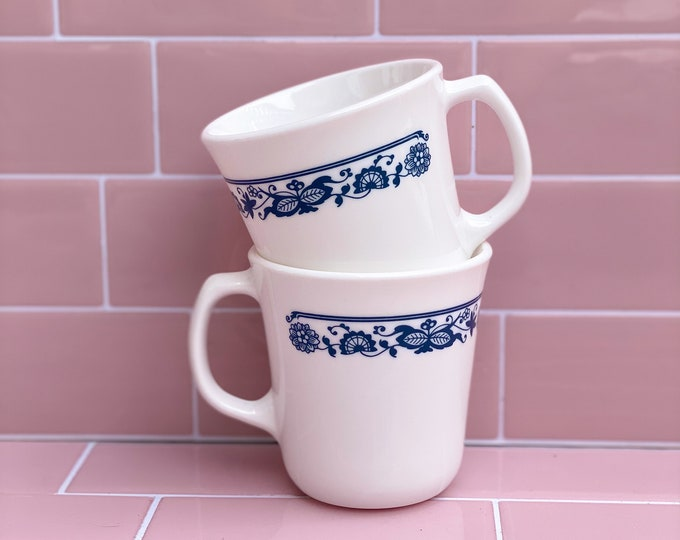 Pyrex Retro Diner Coffee Mugs or Tea Cups with Saucers found by Willabird Designs Vintage Finds. Old Town Blues Series