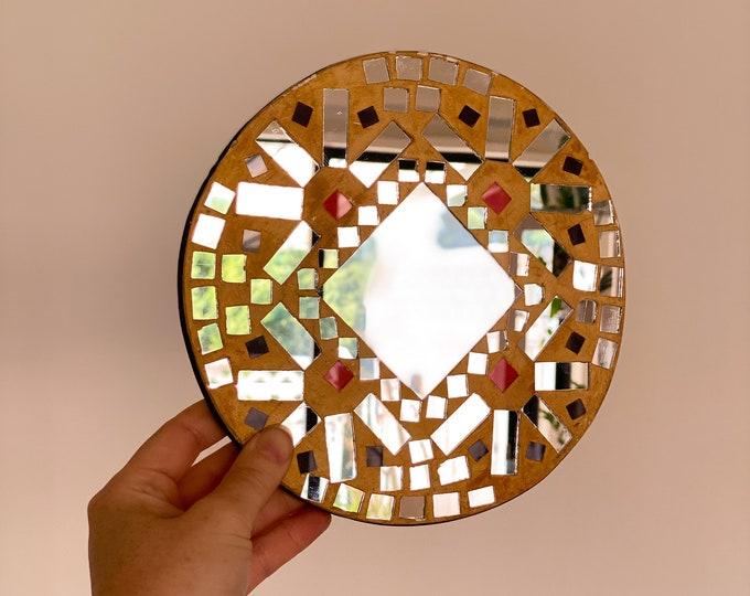 Vintage Round Mosaic Mirror found by Willabird Designs Vintage Finds