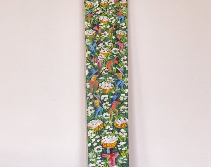 Tall Narrow Signed Original Cotton Fields Painting found by Willabird Designs Vintage Finds