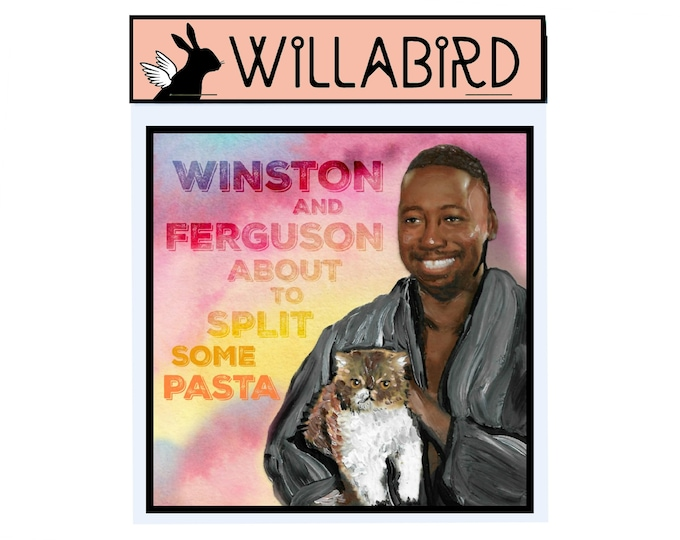 Winston New Girl Magnet by Willabird Designs Artist Amber Petersen. Lamorne Morris as Winston Bishop. Ferguson about to split some pasta