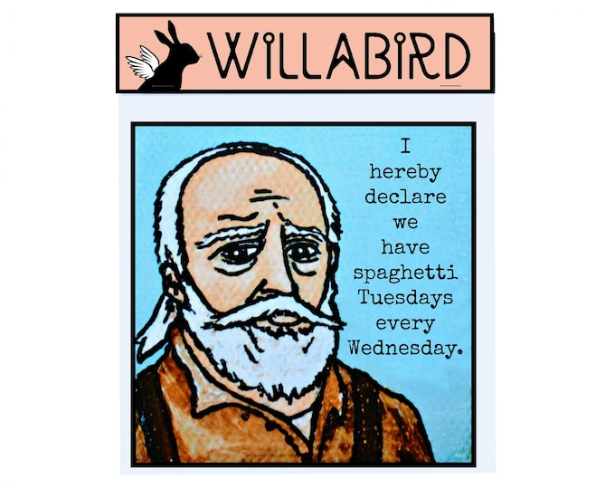 Walking Dead Hershel Magnet by Willabird Designs Artist Amber Petersen. Spaghetti Tuesdays Every Wednesday