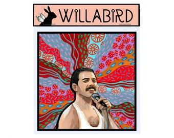 Freddie Mercury Queen Magnet by Willabird Designs Artist Amber Petersen