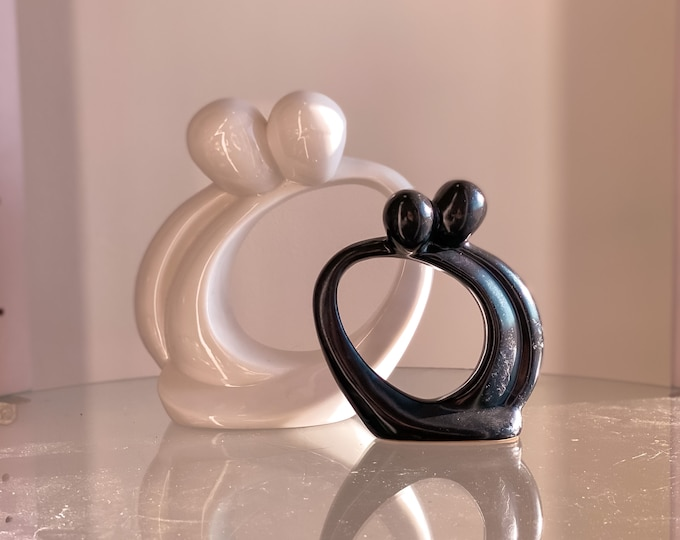1997 Circle of Love Caring Sculptures in Black & White by Kim Lawrence found by Willabird Designs Vintage Finds