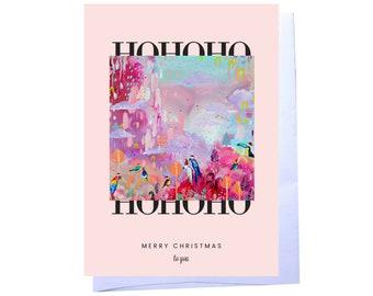 HOHOHO Birds Christmas Card by Artist Amber Petersen. willabird original design