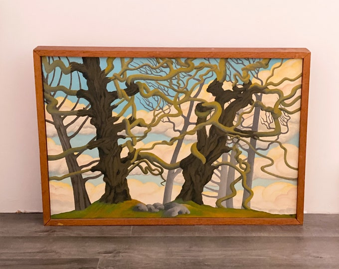 1972 Original Tree Painting, 'Snake Arms' by Donald Worobey found by Willabird Designs Vintage Finds