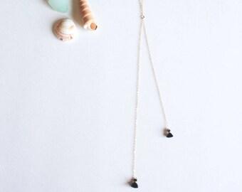 Black Tassel Lariat Necklace