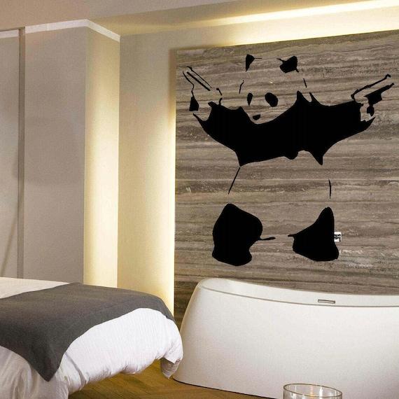 Grande Panda Banksy camera da letto arte muro murali Stencil Sticker  trasferimento vinile adesivo