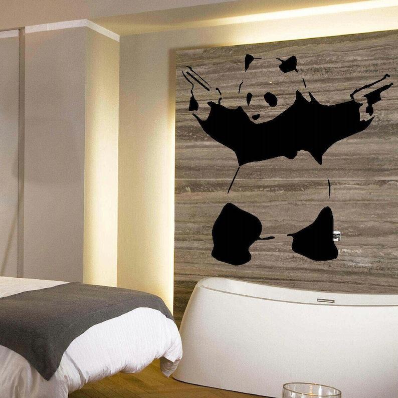 Grande Panda Banksy camera da letto arte muro murali Stencil | Etsy