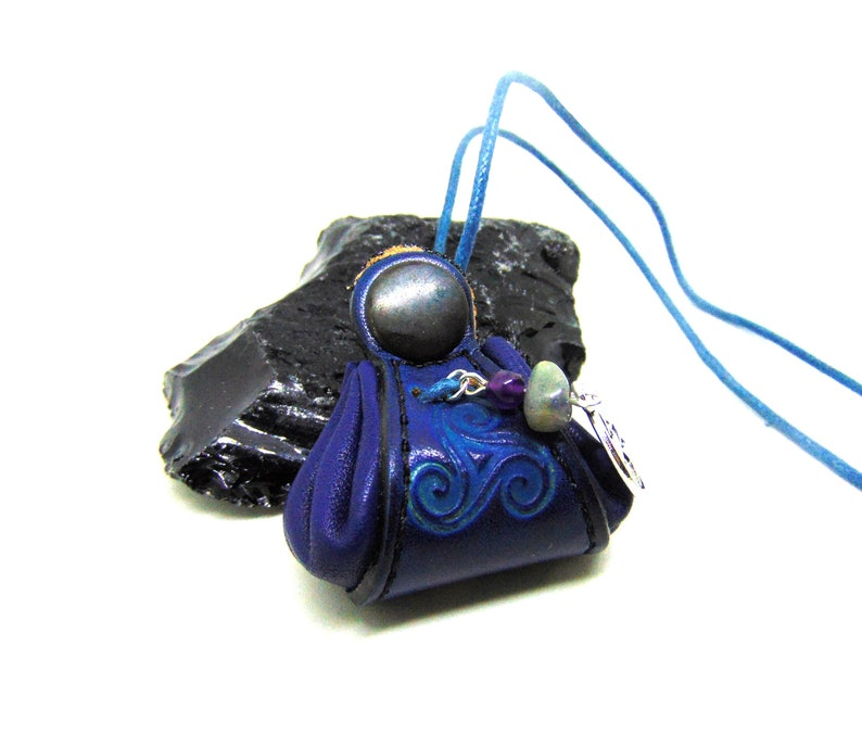 Amulet pendant of Elemental Magic of Blue protection and Pentacle