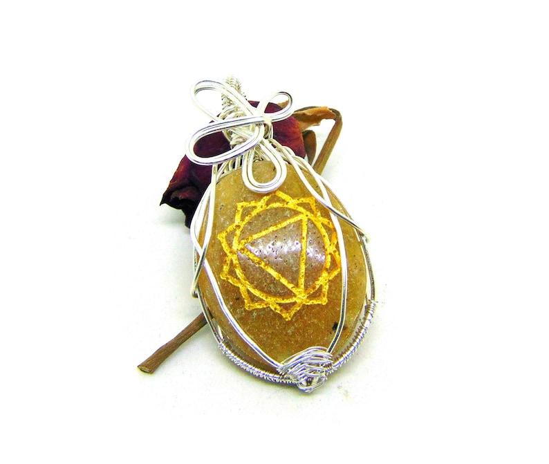 Yellow Jasper Pendant Solar Plexus Chakra Wire Wrapping