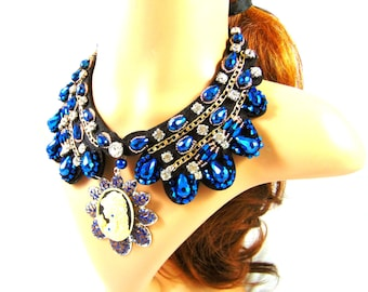 Breastplate collar embroidered rhinestones blue collar facet beads with his cameo